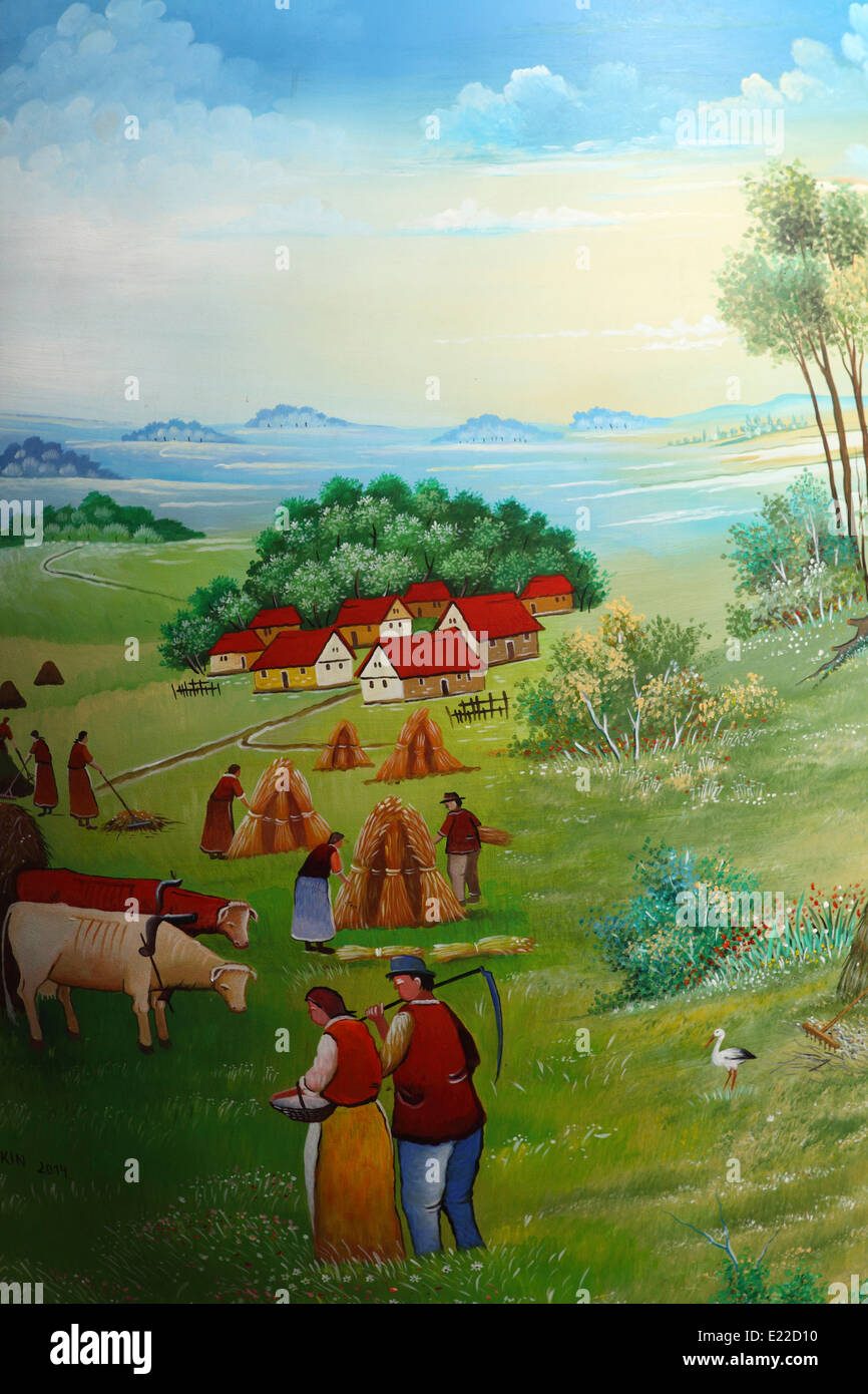 Detail from a giant painted egg outside of the Croatian Naive Art gallery in Zagreb, Croatia. - Stock Image