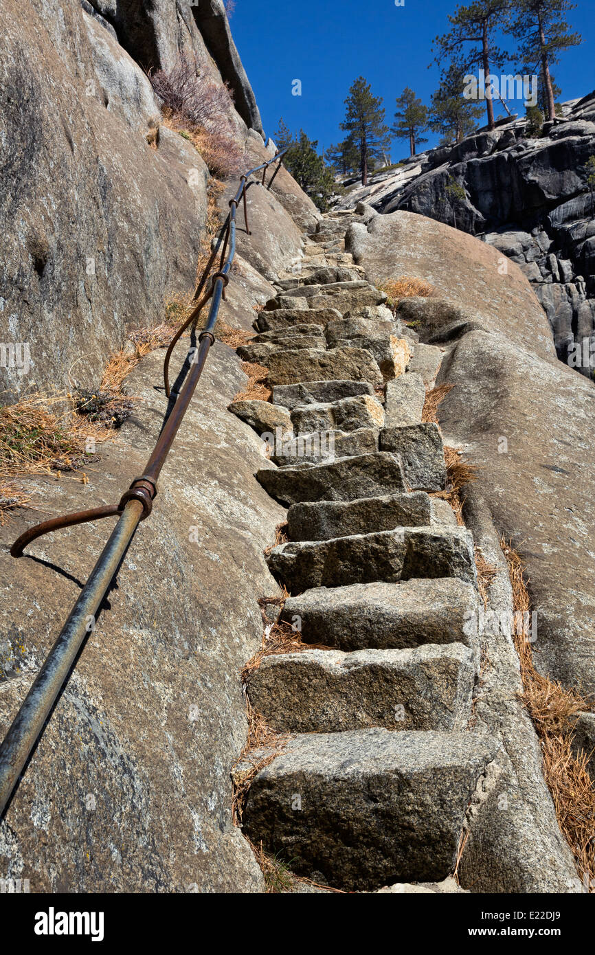 CA02200-00...CALIFORNIA - Steps on the granite wall above the Upper Yosemite Falls viewpoint in Yosemite National - Stock Image