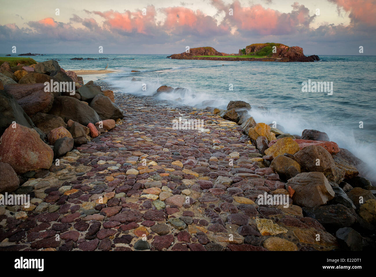 Rock road path leading to golf green at Punta Mita Golf Course, Mexico. - Stock Image