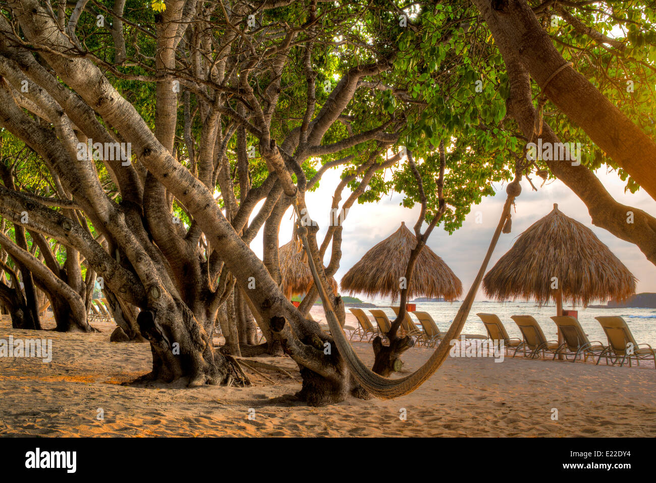 Beach and chairs at Four Seasons. Punta Mita, Mexico. - Stock Image