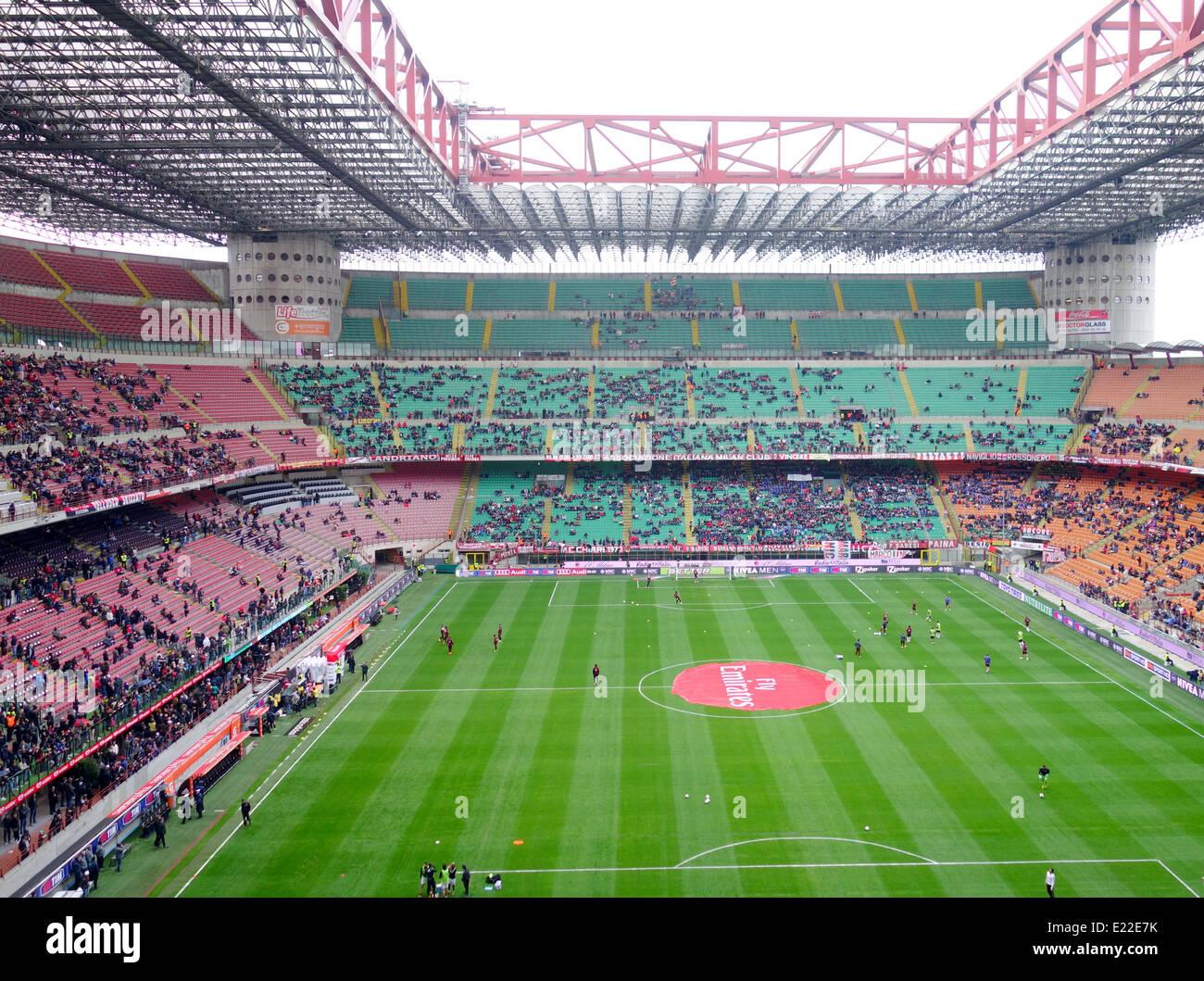 San Siro stadium before an AC Milan game in Milan, Italy Stock Photo