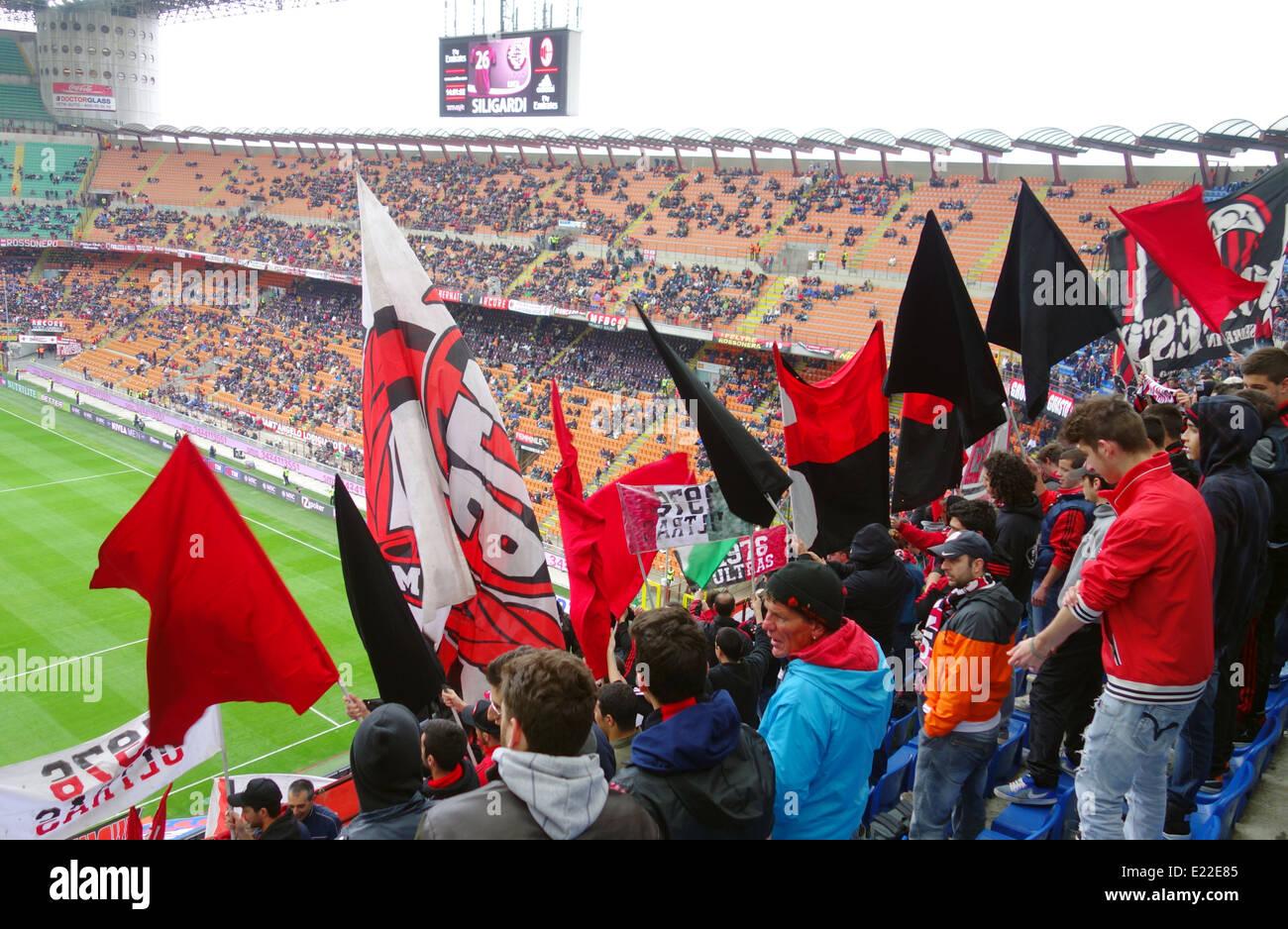 Milan fans at San Siro stadium in Milan, Italy Stock Photo