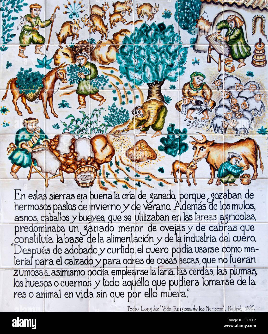 Sedella Málaga  Spain Spanish White Village tiles Farming History ( Pedanius Dioscorides ) Stock Photo