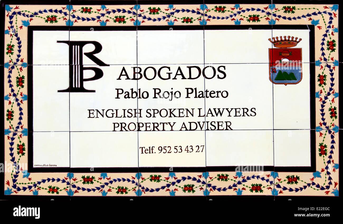 Abogados Pablo Rojo Platero English spoken lawyers lawyer property adviser  Malaga Spain Spanish - Stock Image