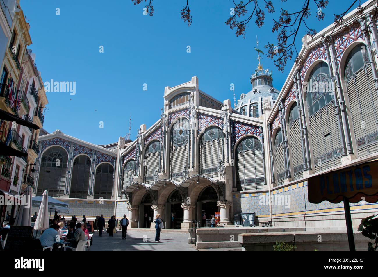 Central Market (Mercado Central) Valencia Spain city center - Stock Image
