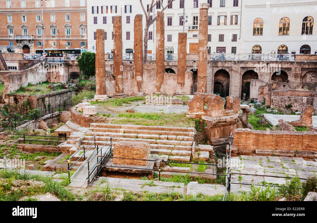 roman temple ruins in the so-called Area Sacra in Rome. Italy - Stock Image