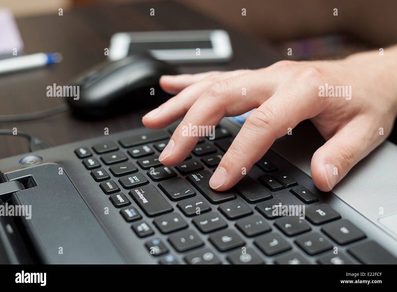 Hand Of Press Enter Key Stock Photos & Hand Of Press Enter