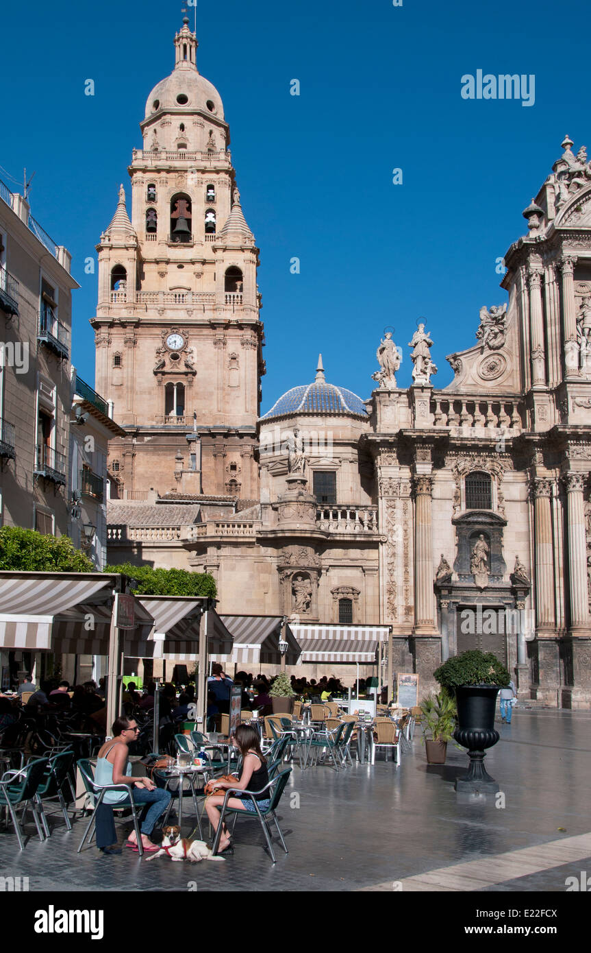 Murcia Cathedral - Plaza del Cardenal Belluga Spain Spanish Andalusia - Stock Image