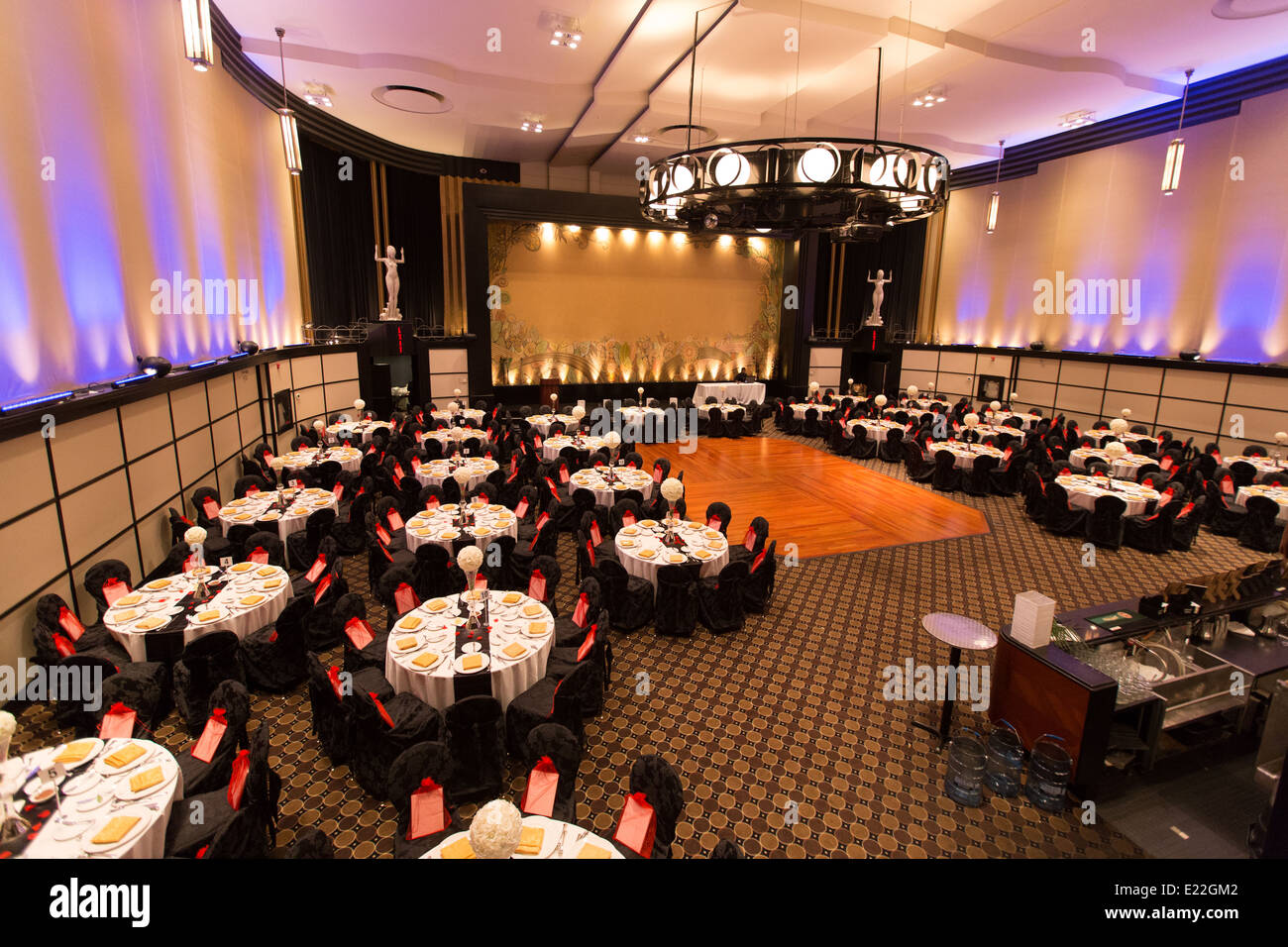 inside banquet hall table setup 'eglinton grand' - Stock Image