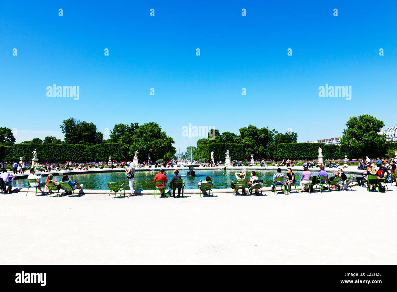 Parisians relaxing around lake at place Du Concord Paris City France - Stock Image