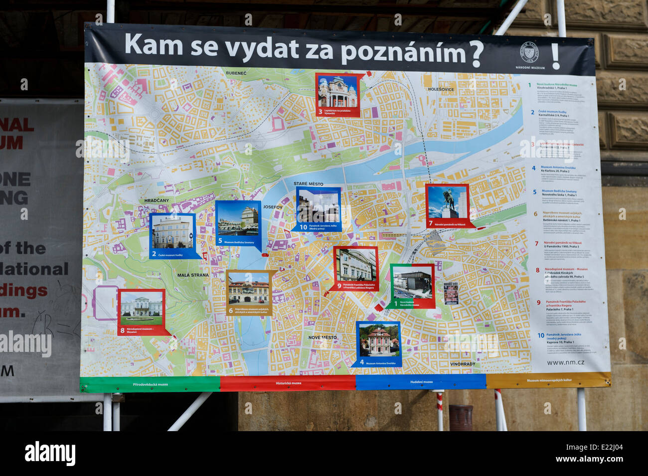 Map With Key Tourists Landmarks In Front Of National Museum Prague - National landmarks map