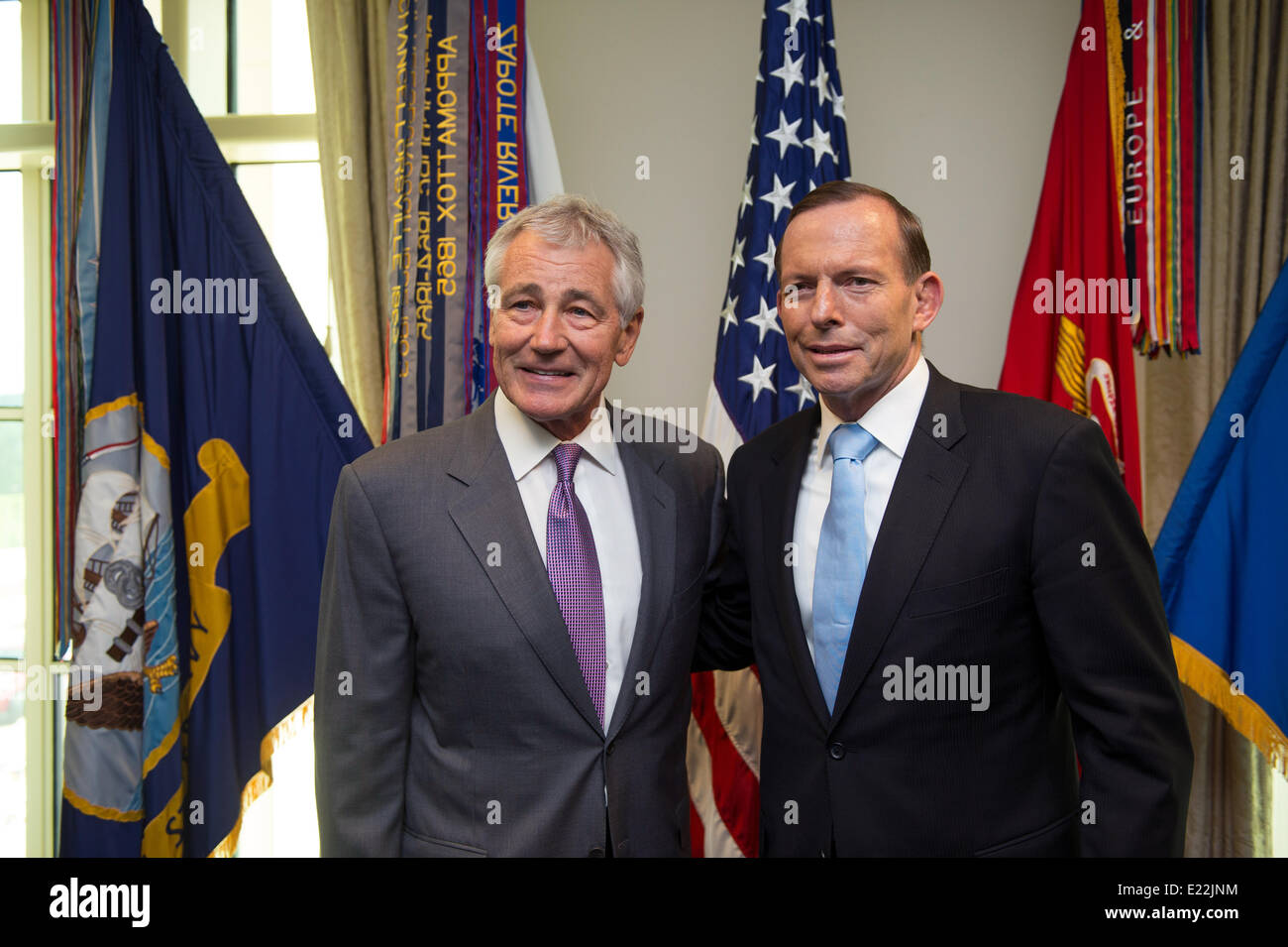 US Secretary of Defense Chuck Hagel with Australian Prime Minister Tony Abbott before their meeting at the Pentagon - Stock Image
