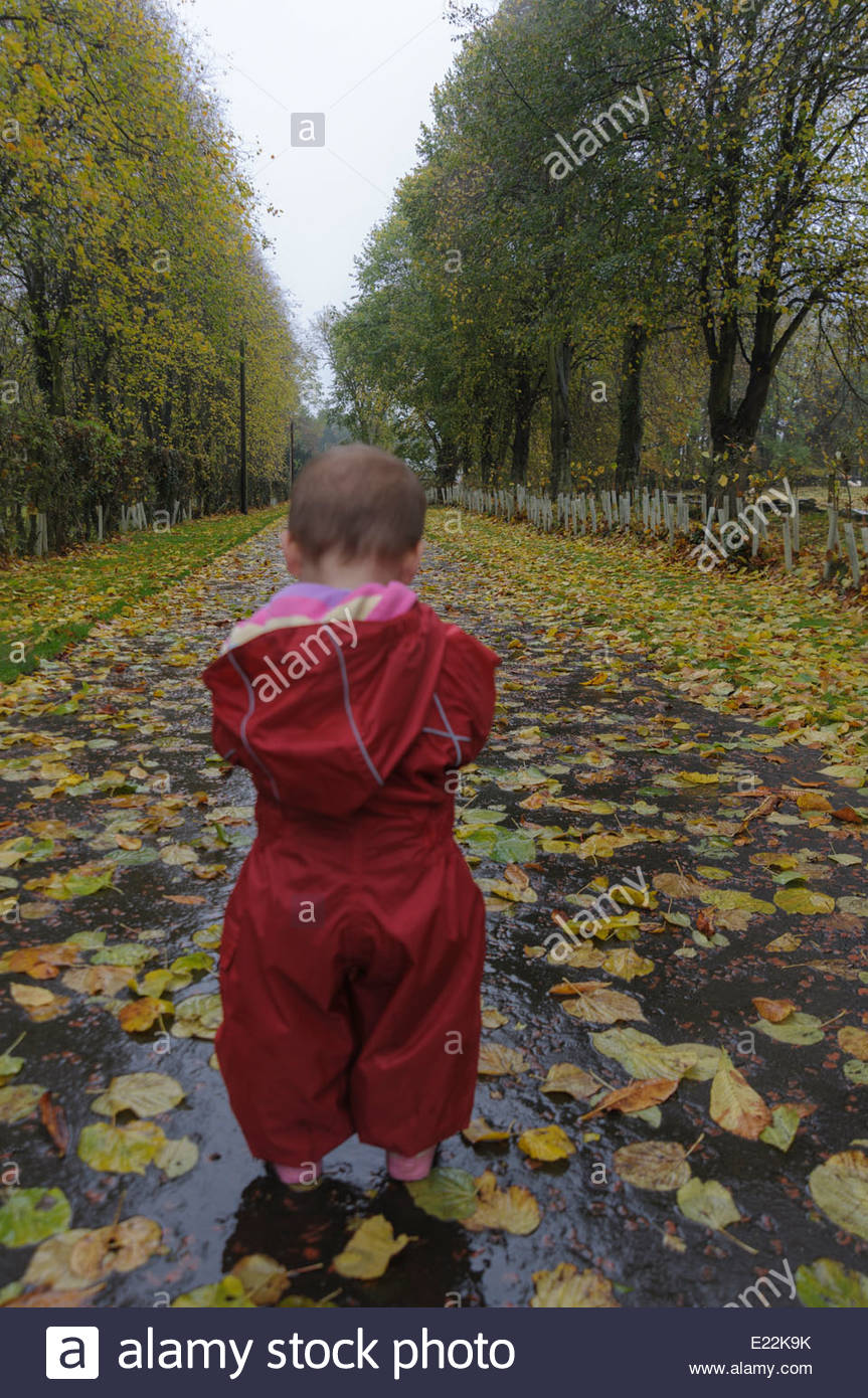 A small child standing at the end of a tree lined driveway covered in leaves. - Stock Image