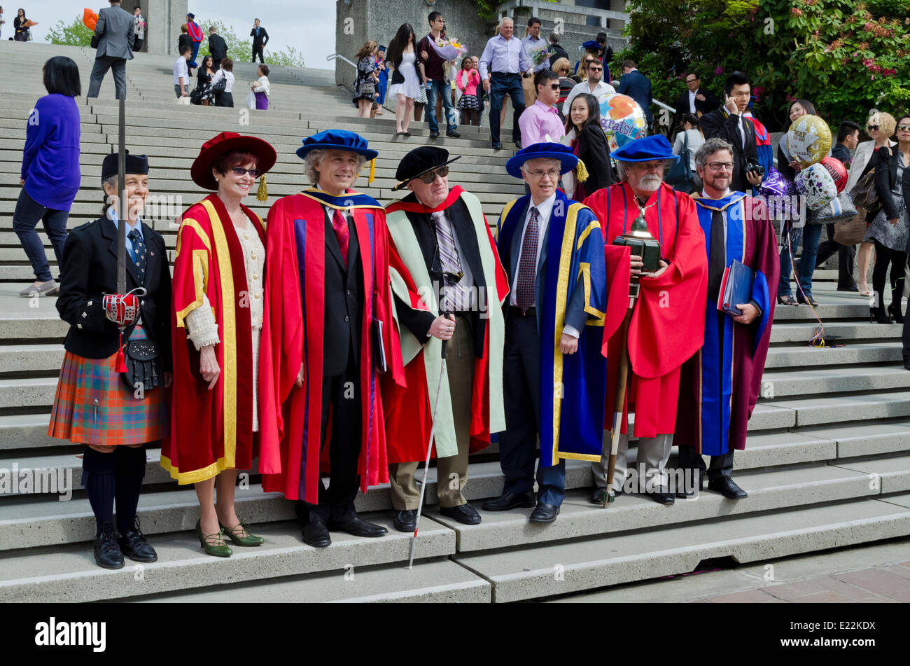 BURNABY, BC, CANADA.  JUNE 12, 2014:  Dignitaries in the Simon Fraser University Spring 2014 convocation for the - Stock Image