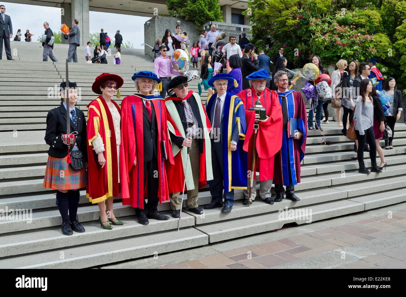 BURNABY, BC, CANADA.  JUNE 12, 2014:  Dignitaries and academics in the Simon Fraser University Spring 2014 convocation - Stock Image