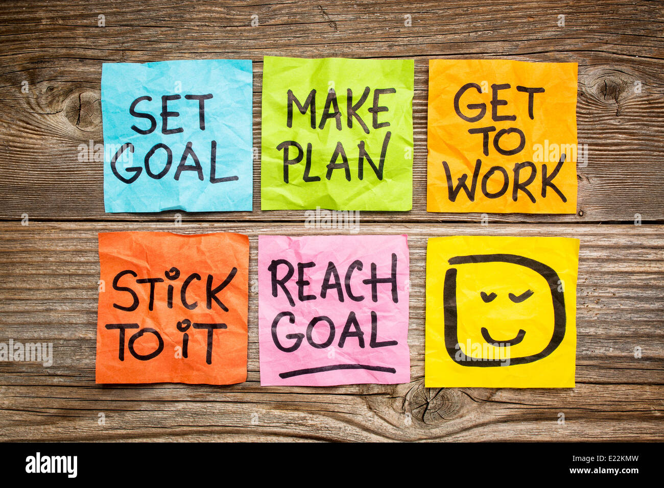 set goal, make plan, work, stick to it, reach goal - a success concept presented with colorful sticky notes - Stock Image