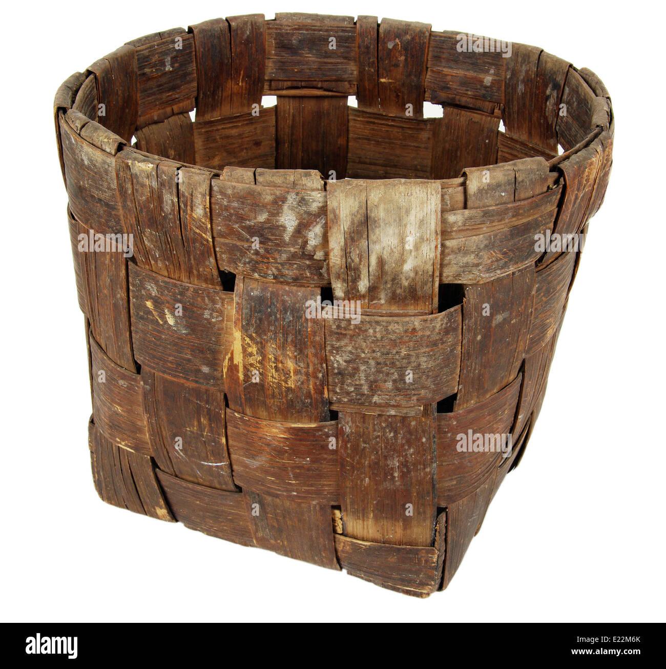 Background, bark, basket, bast, birch, craft, interlacing, national, product, weaving - Stock Image
