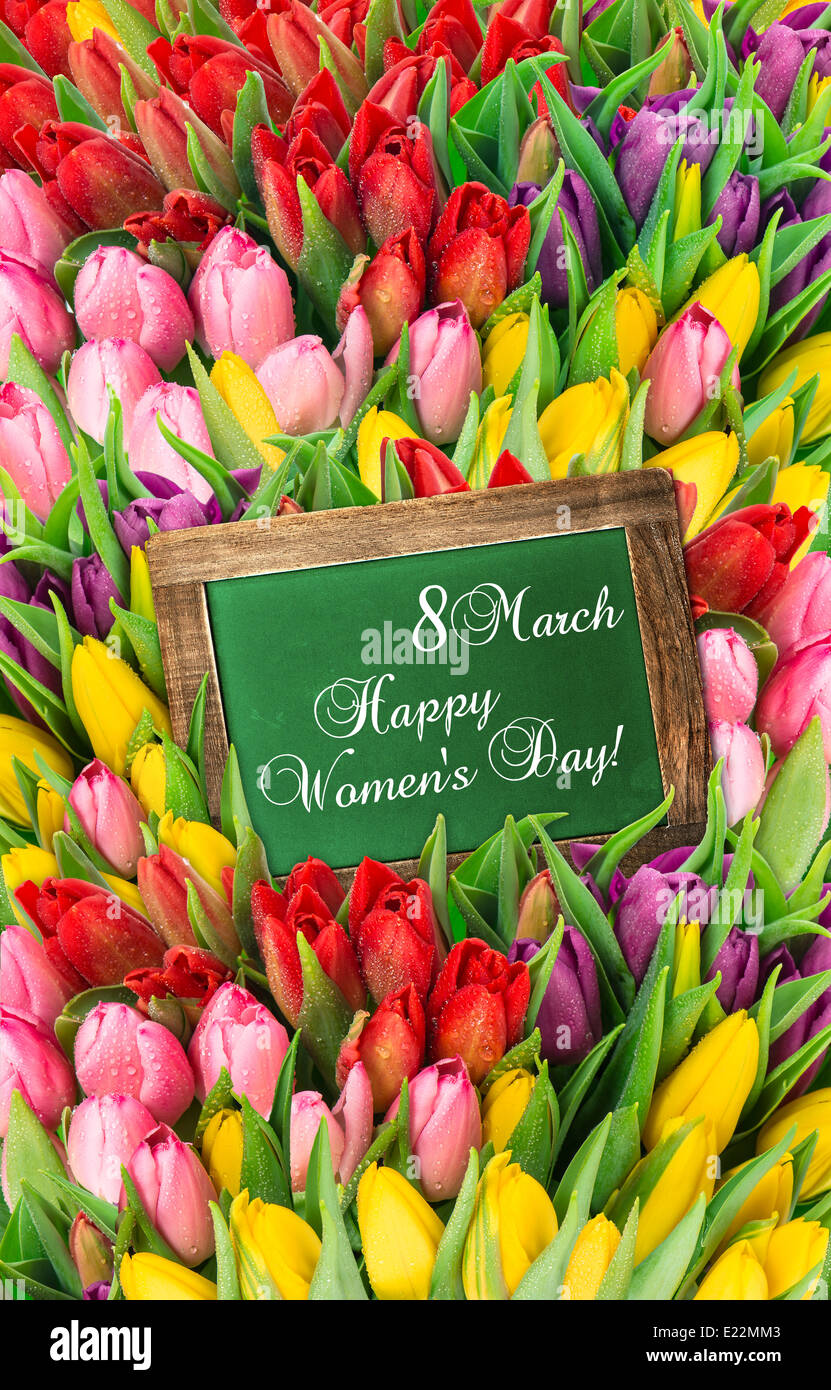 tulips and blackboard. fresh spring flowers with water drops. womens day background with sample text Happy Women's - Stock Image