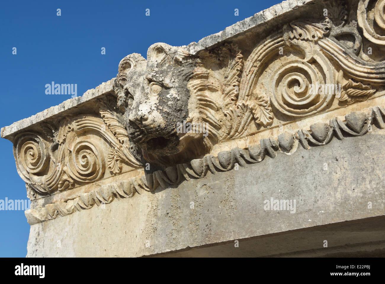 Lion downspout, Letoon, Turkey 140422_60989 - Stock Image