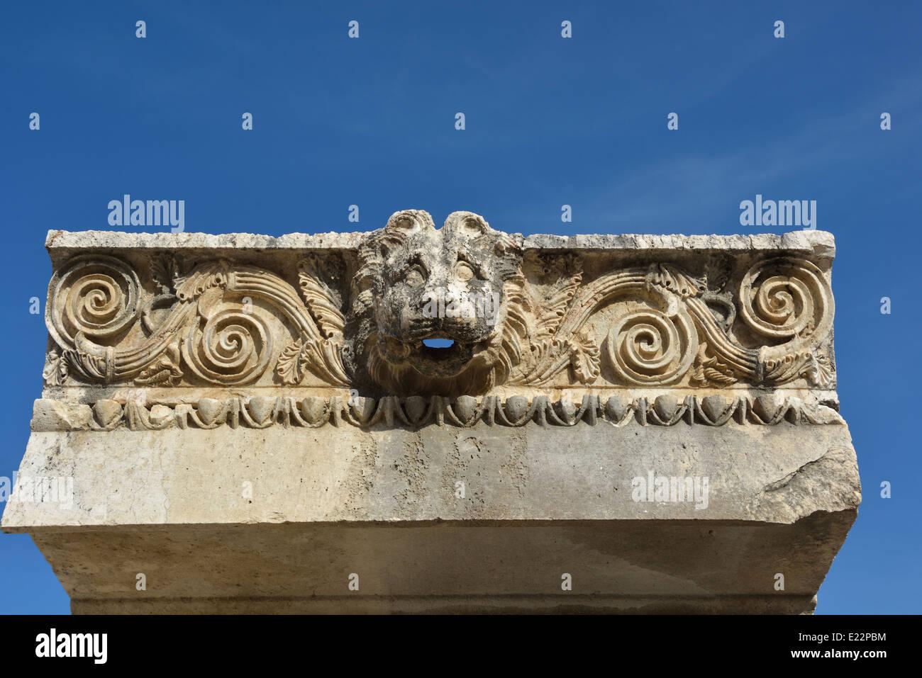 Lion downspout, Letoon, Turkey 140422_60990 - Stock Image