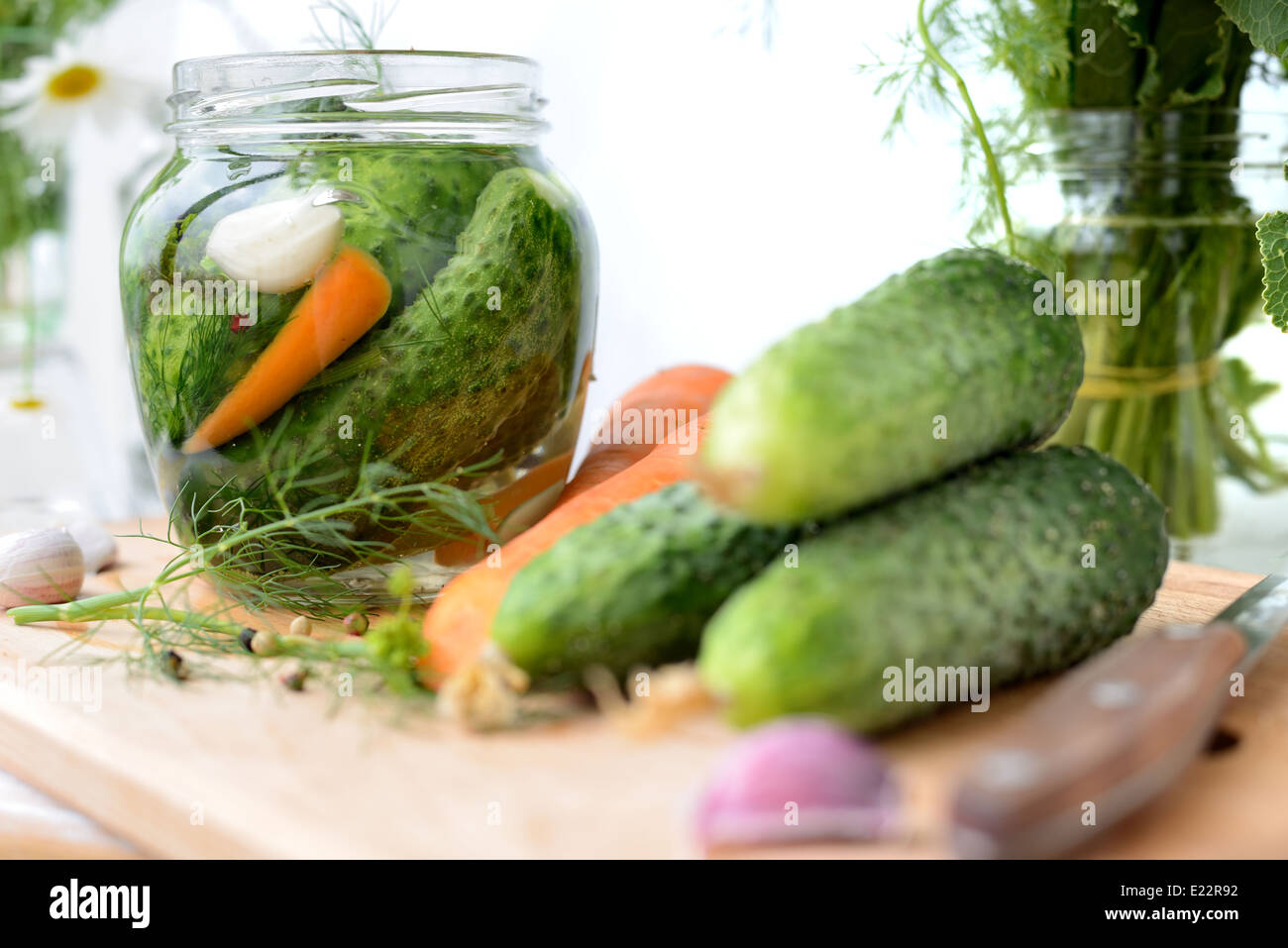 Fresh cucumbers in the jar, just filled with brine. - Stock Image