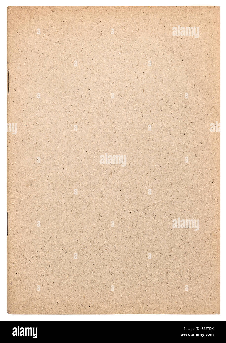 old book cover isolated on white background. paper texture - Stock Image