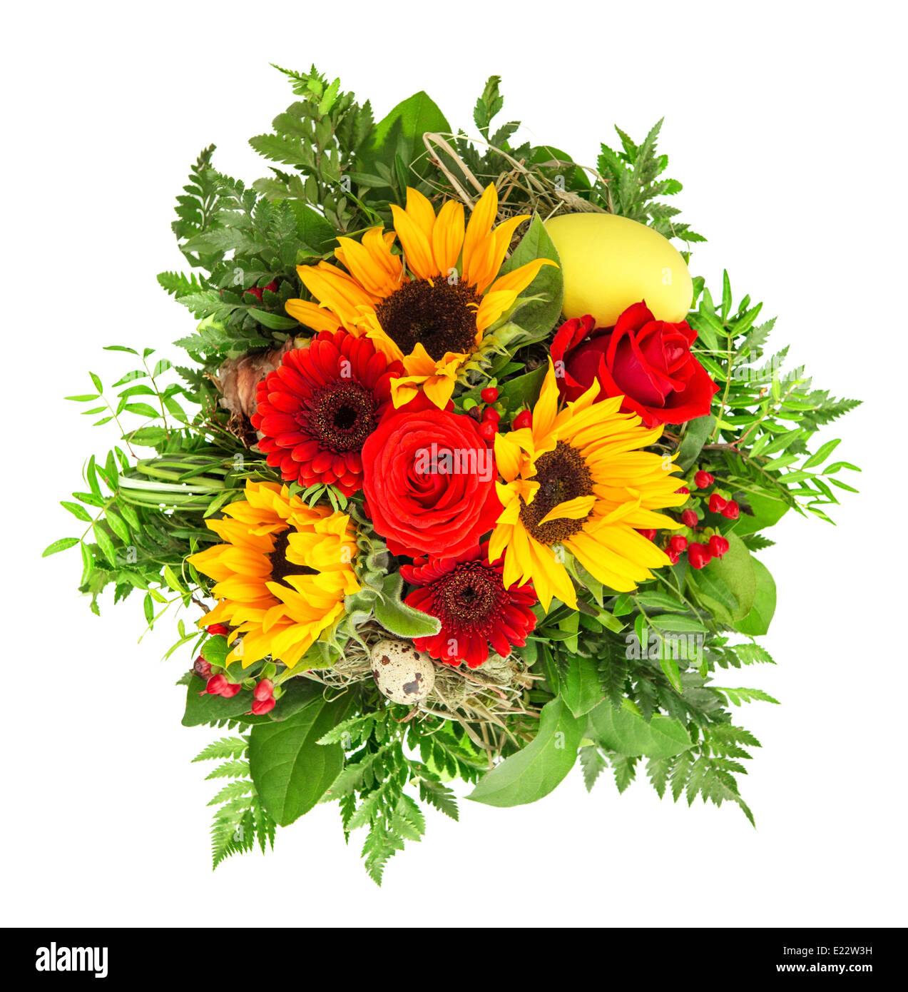 Yellow Roses Sunflower Flowers Stock Photos Yellow Roses Sunflower