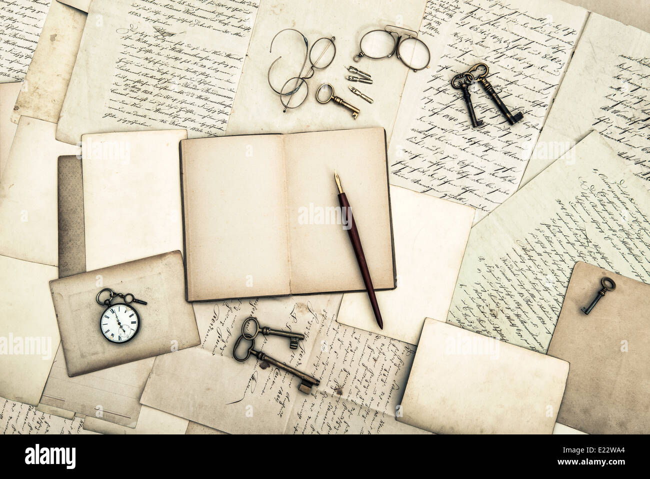 antique office tolls and keys, old diary book and letters. nostalgic sentimental background - Stock Image