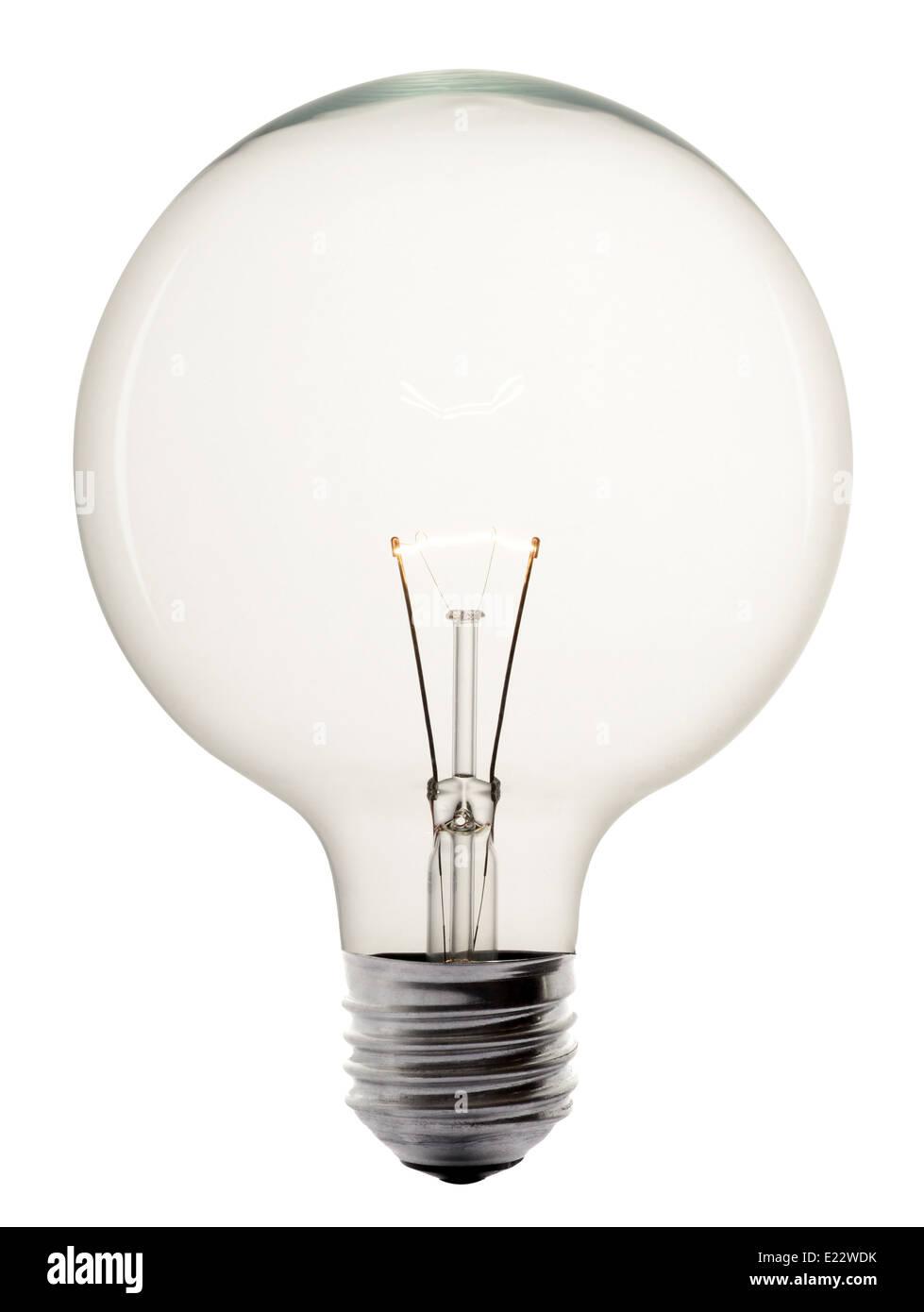 Single glowing glass light bulb - Stock Image