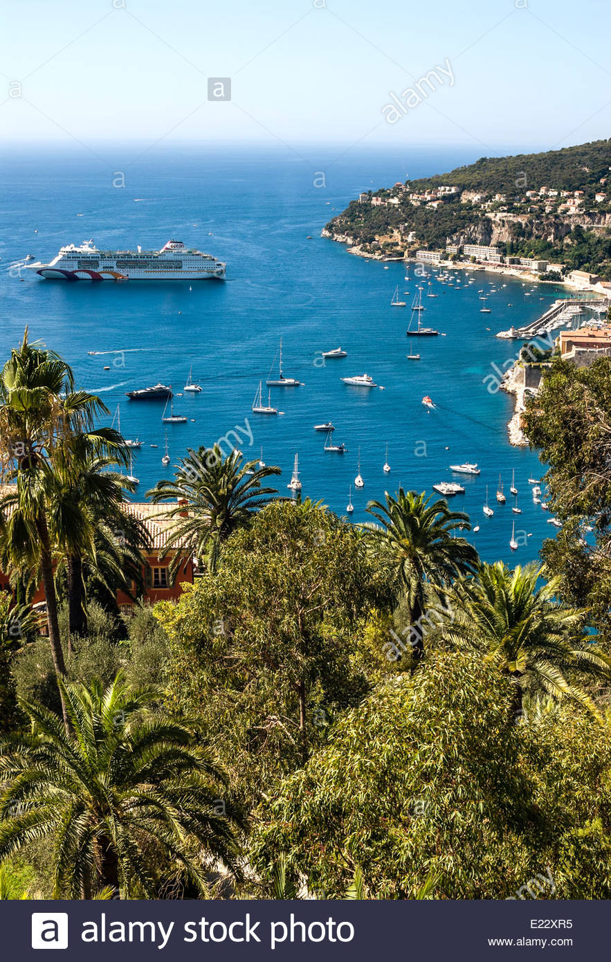 Cruise Harbour of Villefranche sur Mer at the Cote d'Azure in Southern France. - Stock Image