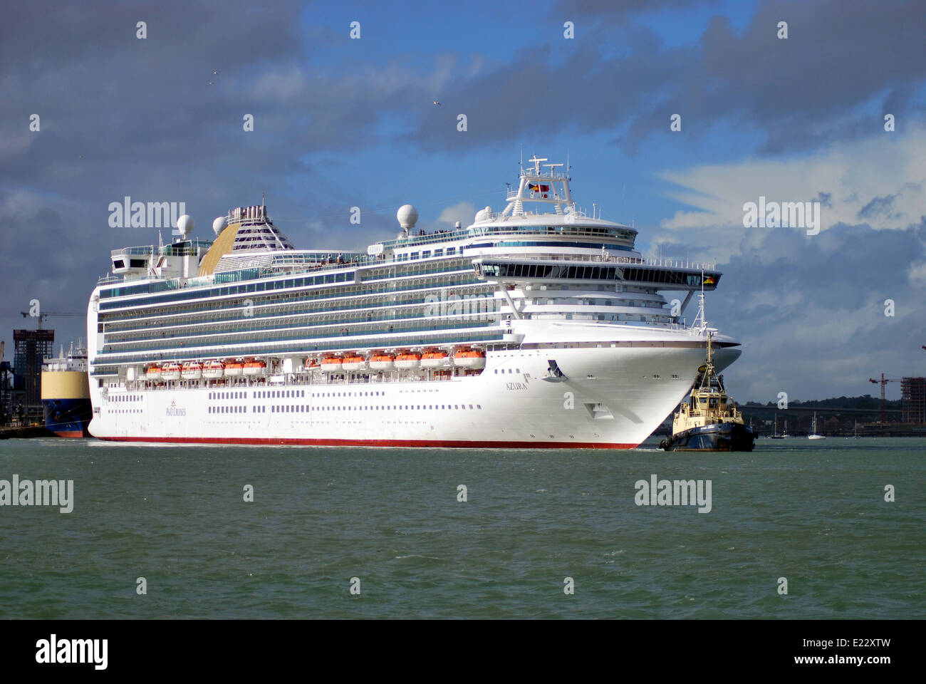 The cruise ship Azura operated by P&O cruises departs from Southampton on a cruise to Portugal. - Stock Image