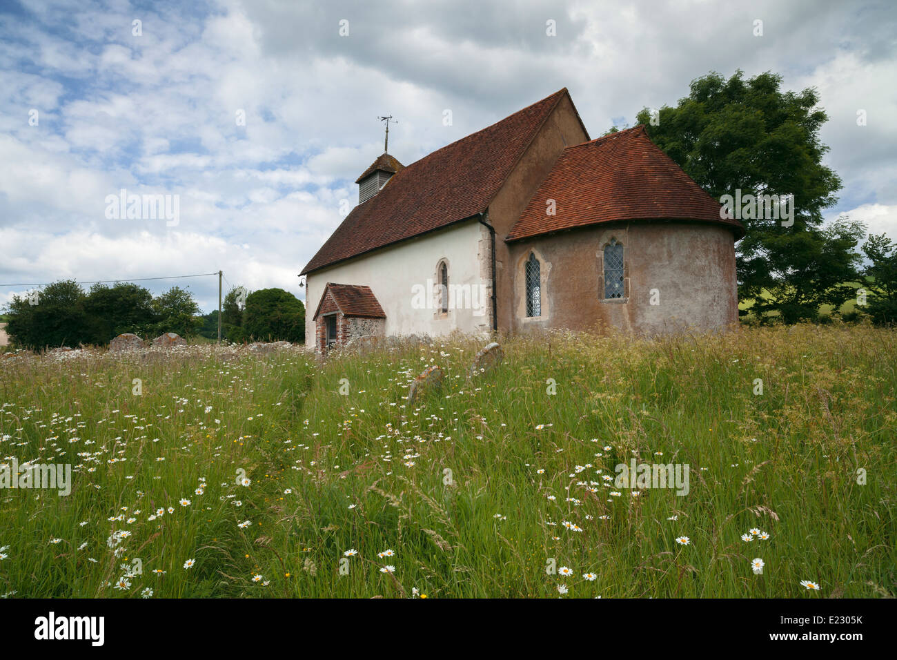 The 12th century Church of St Mary the Virgin in Upwaltham, West Sussex, England, UK Stock Photo