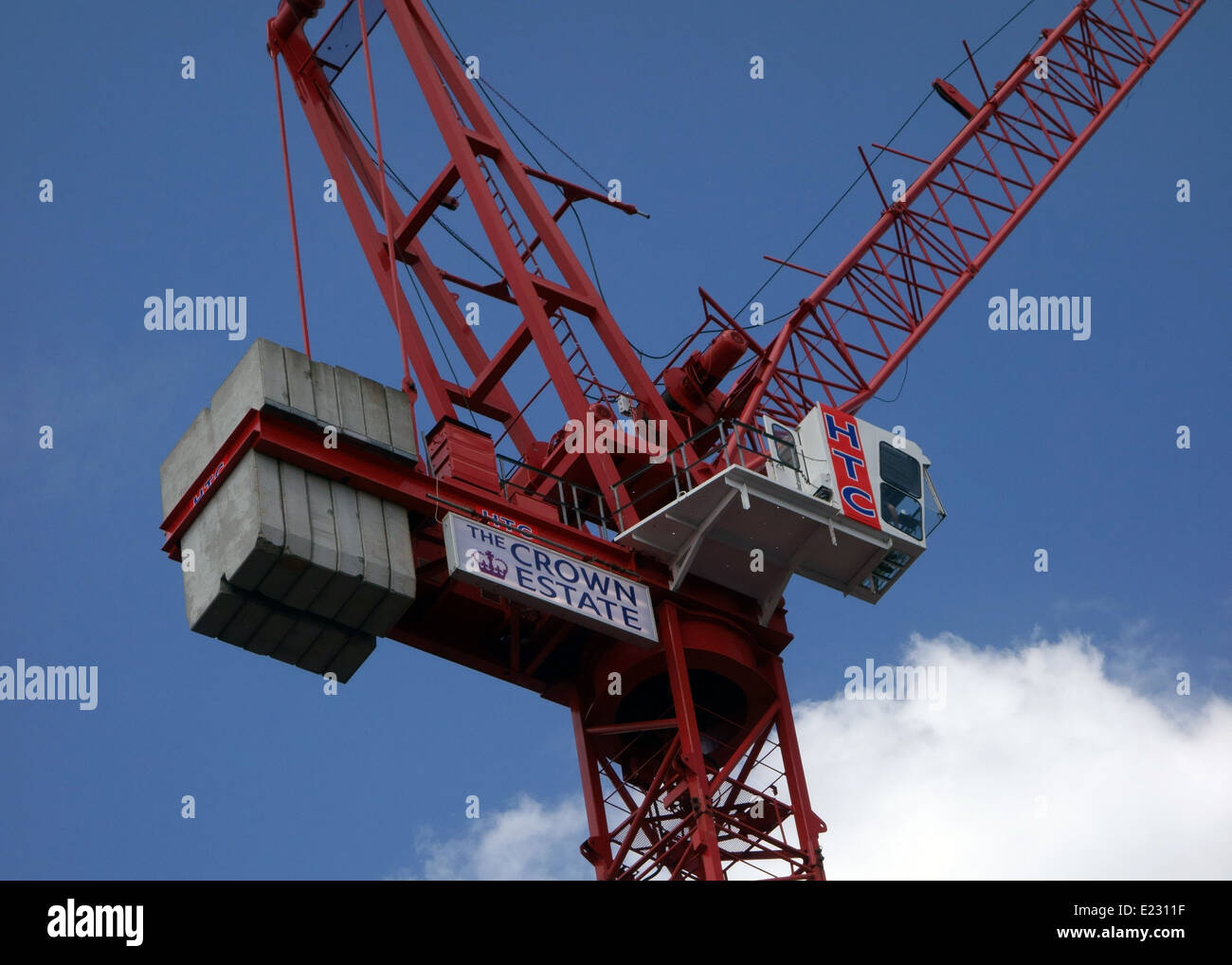 Crane on construction site for The Crown Estate in Central London - Stock Image