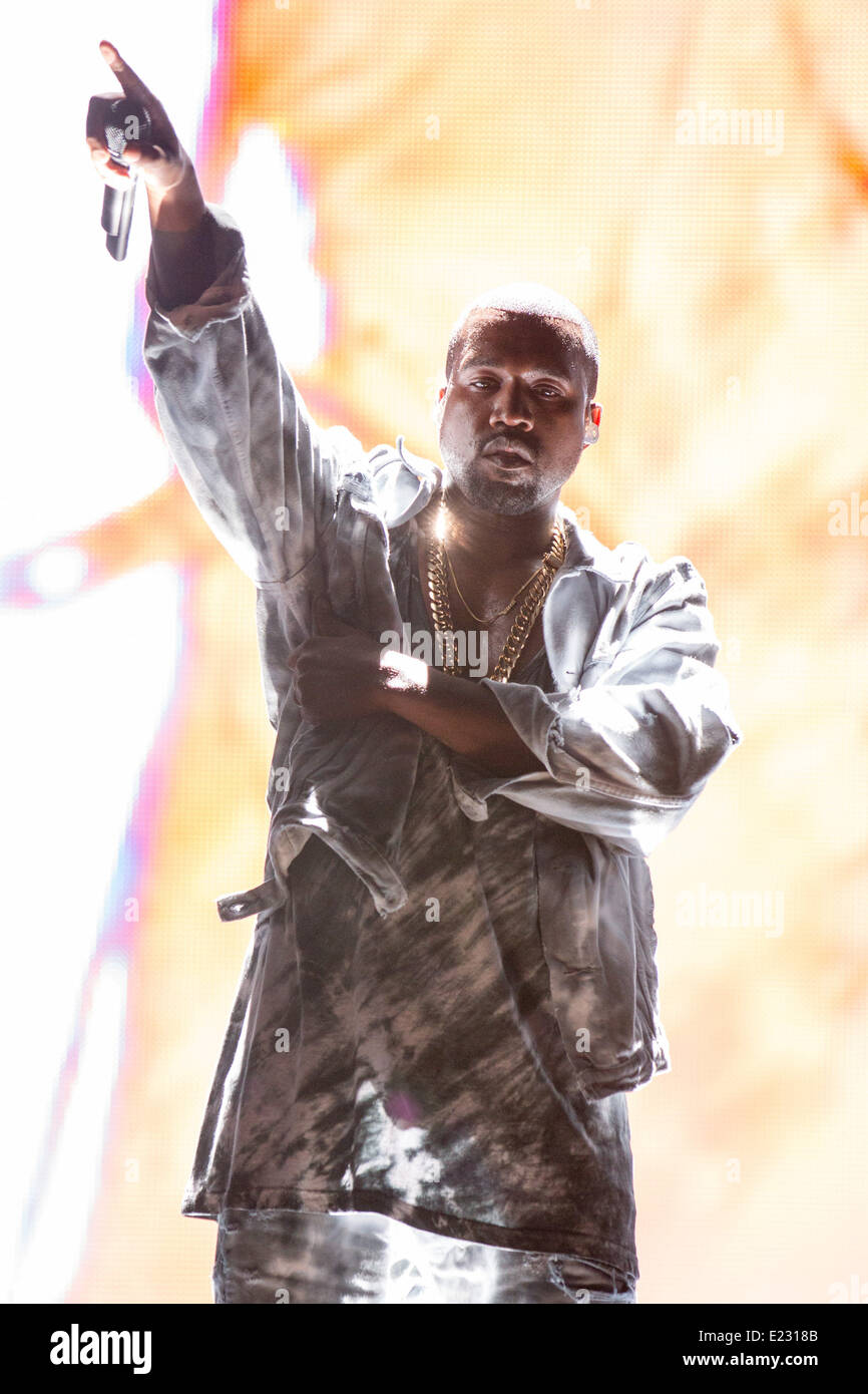 Manchester, Tennessee, USA. 13th June, 2014. Rapper KANYE WEST performs live at the 2014 Bonnaroo Music and Arts - Stock Image
