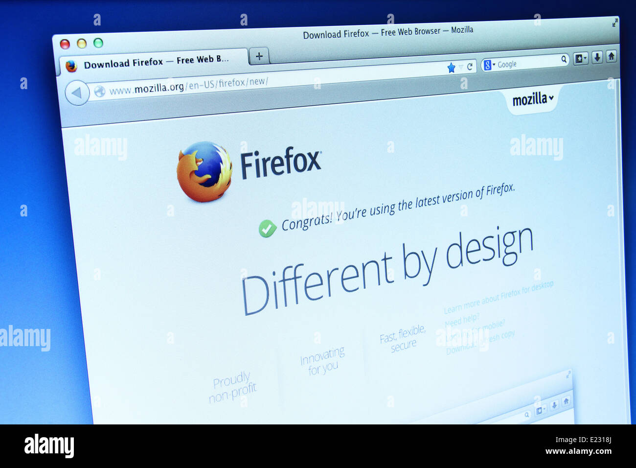 Photo of Mozilla Firefox webpage on a monitor screen  Mozilla
