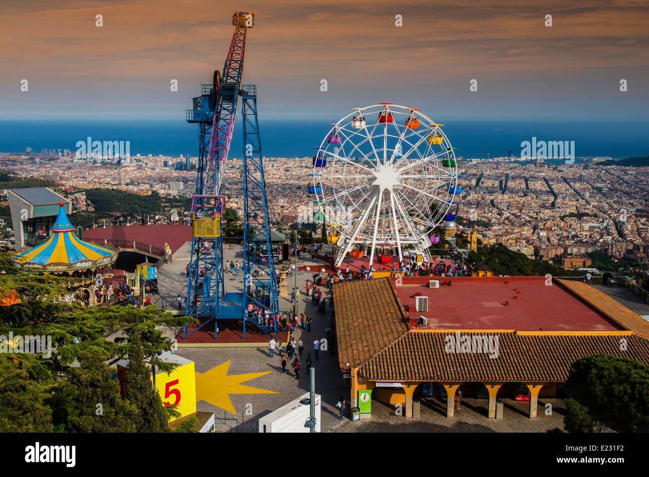 Tibidabo Amusement Park Barcelona Catalonia Spain Stock Photo Alamy