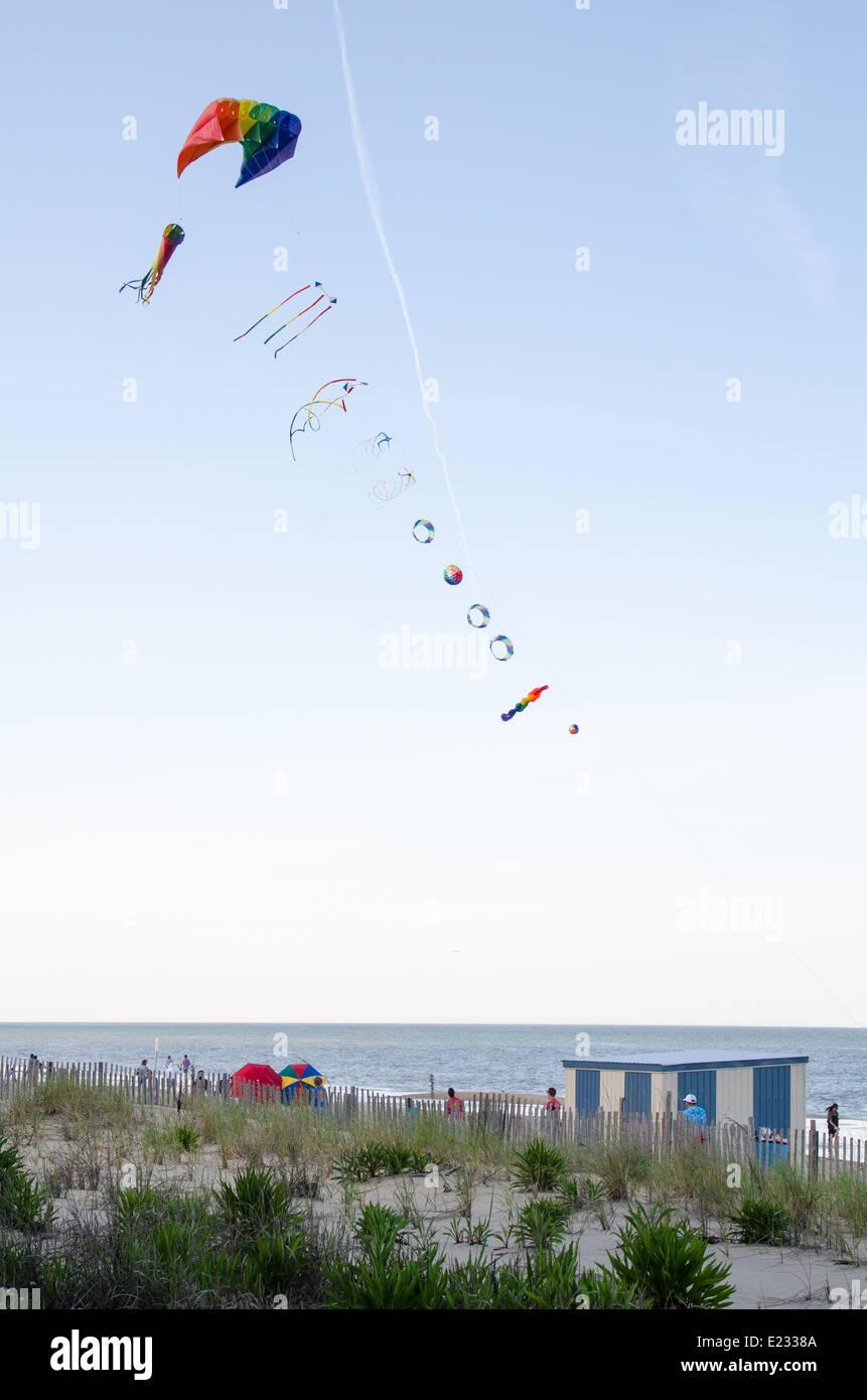 Kite Flying along Rehoboth Beach in Delaware - Stock Image