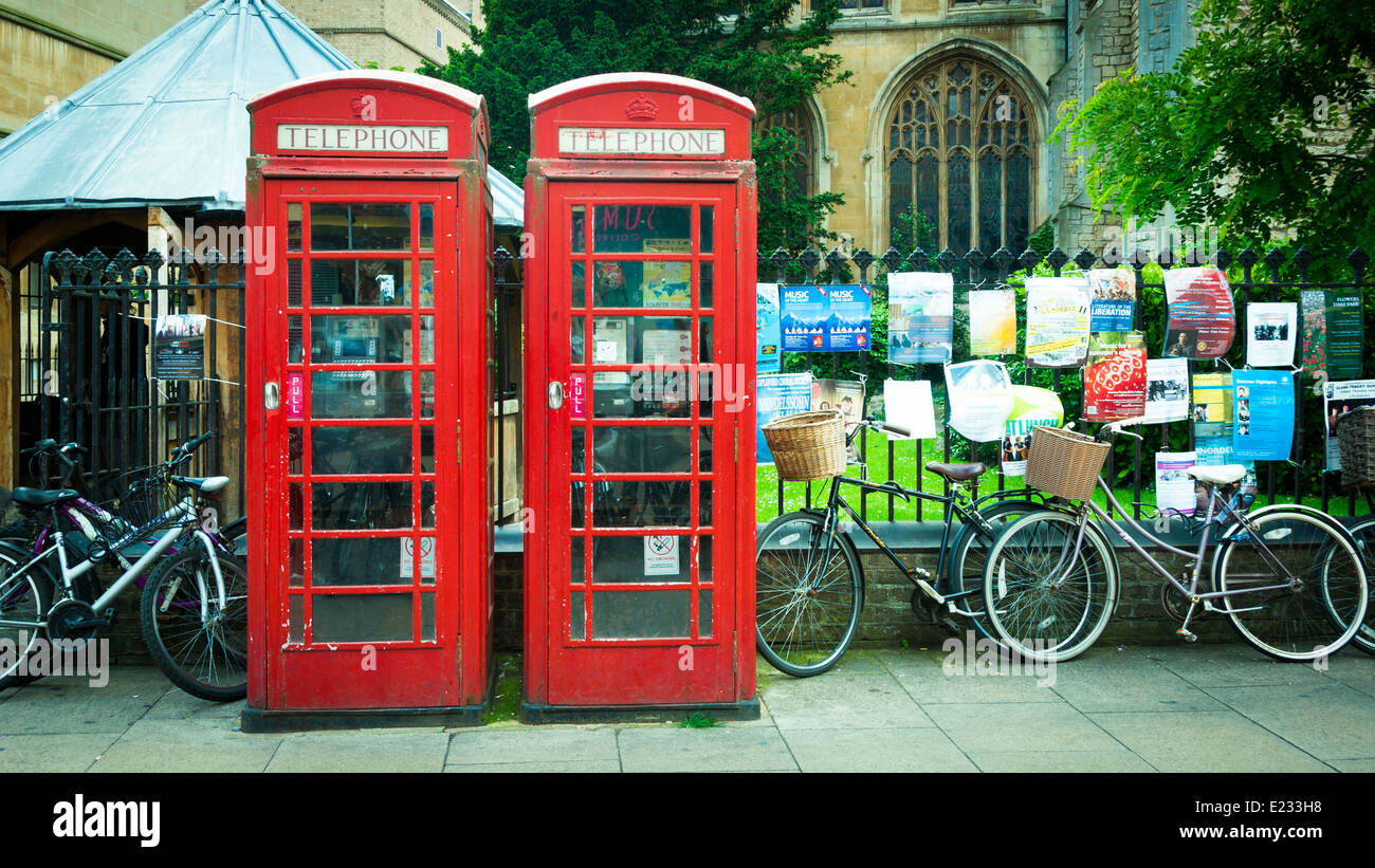 Two red British telecom telephone boxes, England, UK - Stock Image
