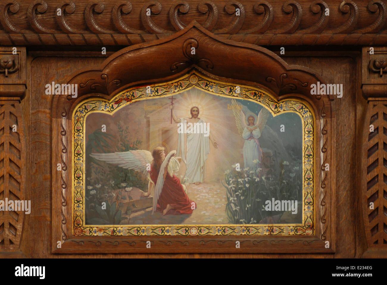 Resurrection of Jesus. An Icon from the iconostasis of the Orthodox Church of Saint Olga in Frantiskovy Lazne, Czech - Stock Image