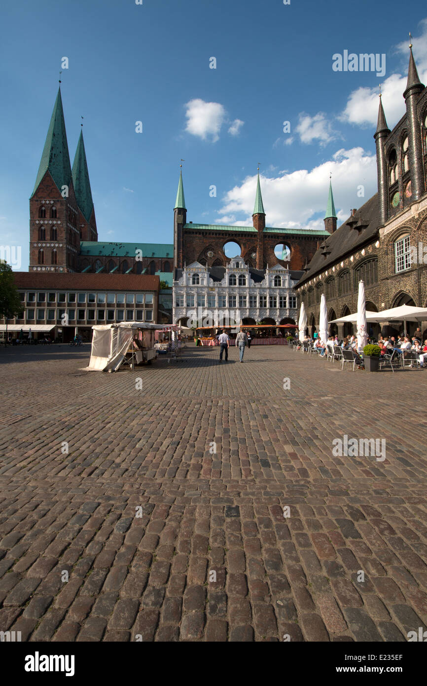Cafe Niederegger at Market Place, Hanseatic town Lubeck, Schleswig-Holstein, Germany - Stock Image