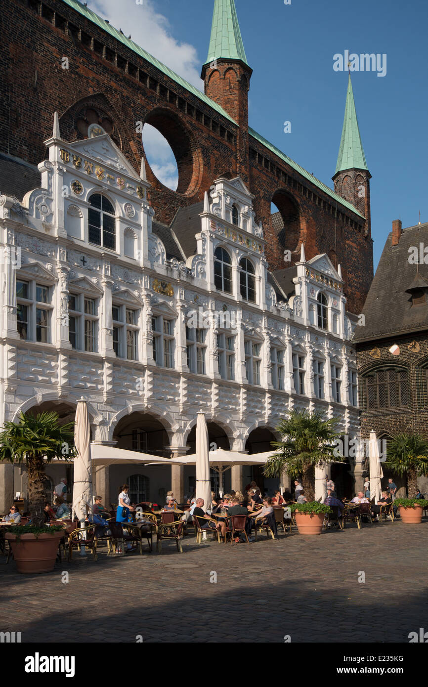 City Hall with Cafe at market square, Hanseatic City of Lübeck, Schleswig-Holstein, Germany - Stock Image
