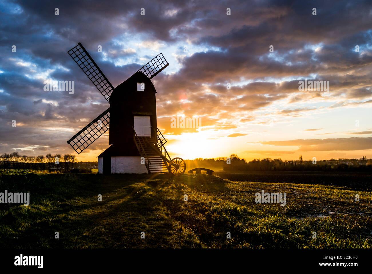 Sunset at Pitstone Windmill - Stock Image
