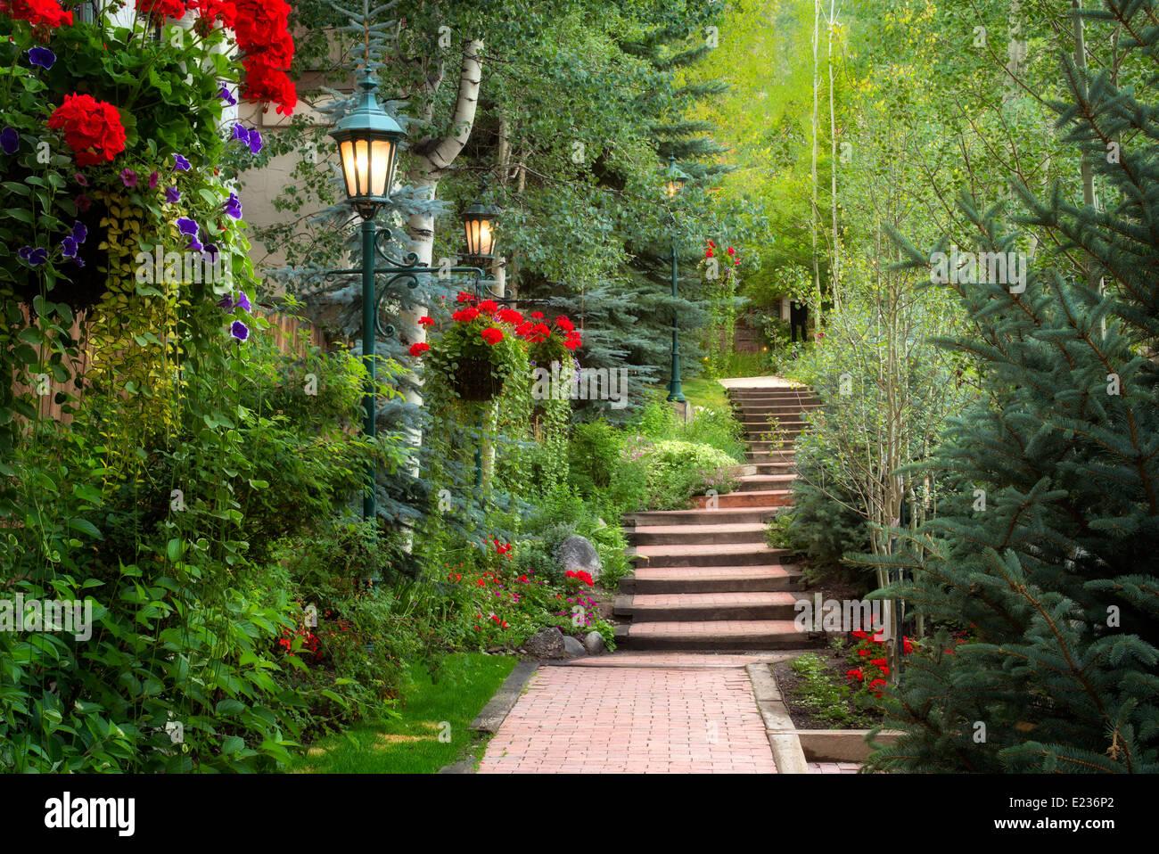 Pathway In Garden In Vail Village Vail Colorado Stock Photo