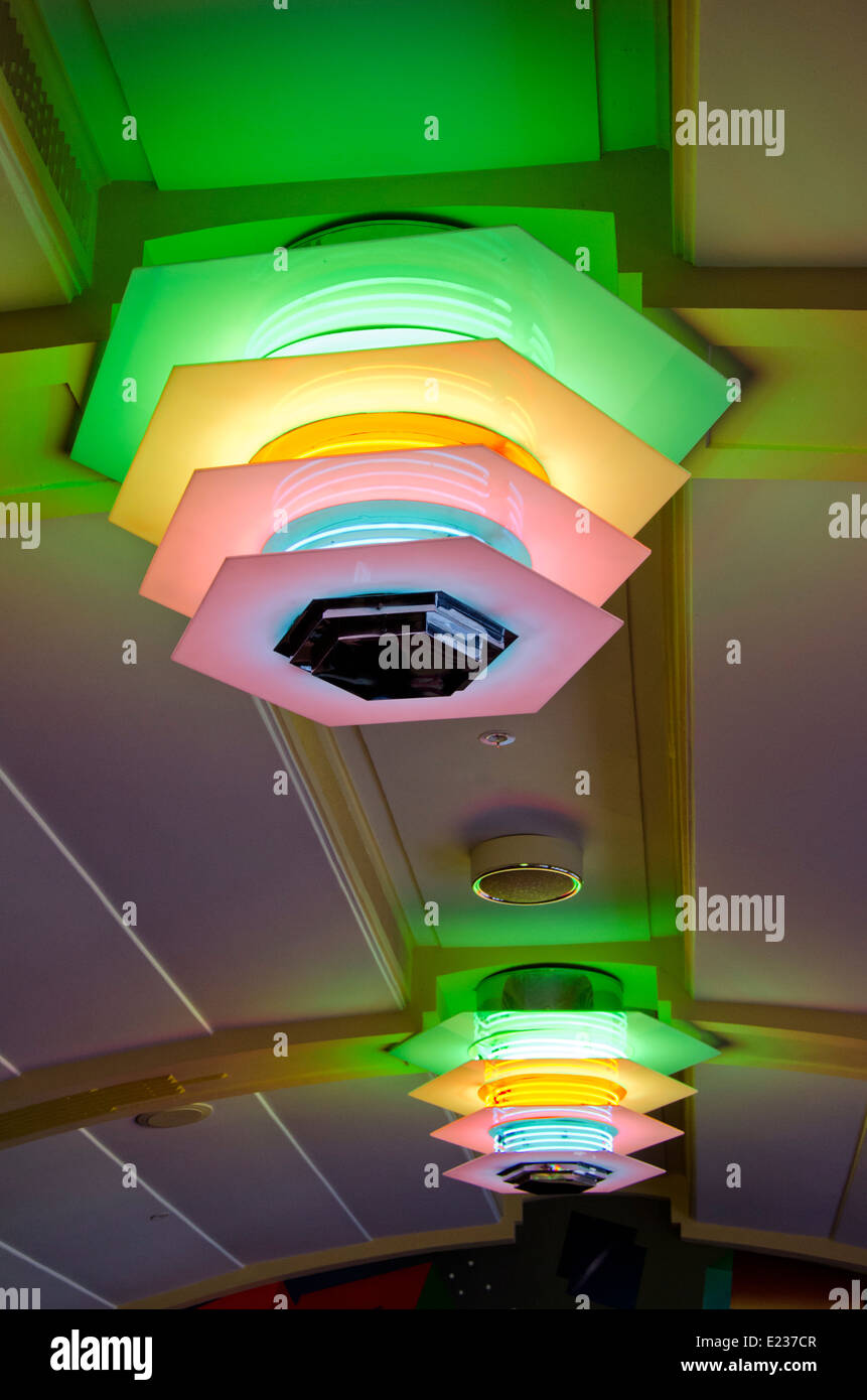 New Zealand, North Island, Napier.  Municipal Theatre, c. 1937, original art deco neon light fixtures. - Stock Image