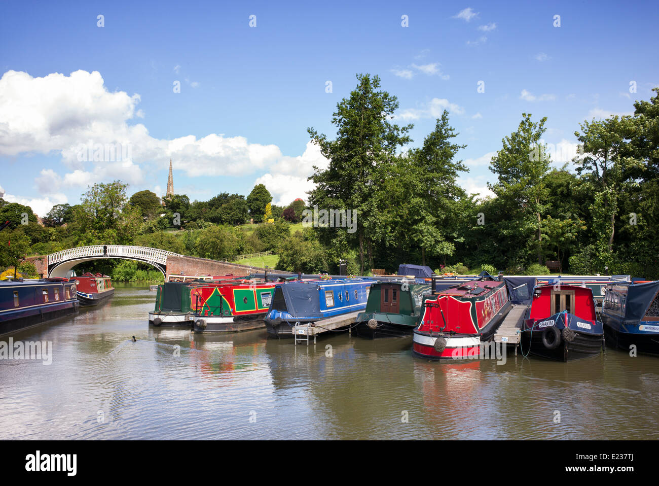 Narrowboats at Braunston Marina on the Grand Union canal. Braunston,  Northamptonshire, England - Stock Image
