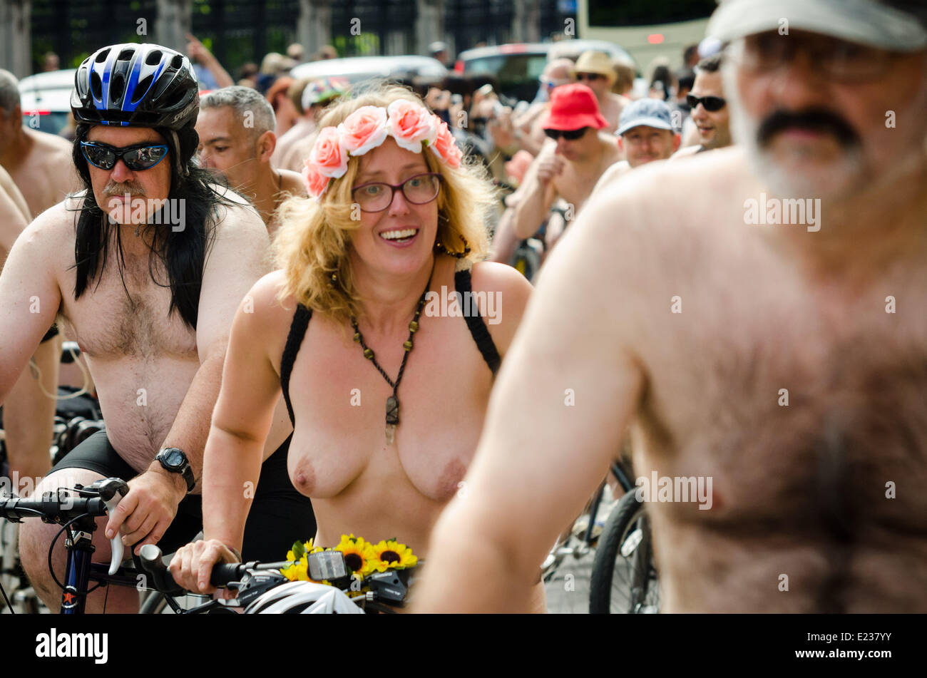 London Naked Bike Ride 2014 Credit: Guy Corbishley/Alamy Live News