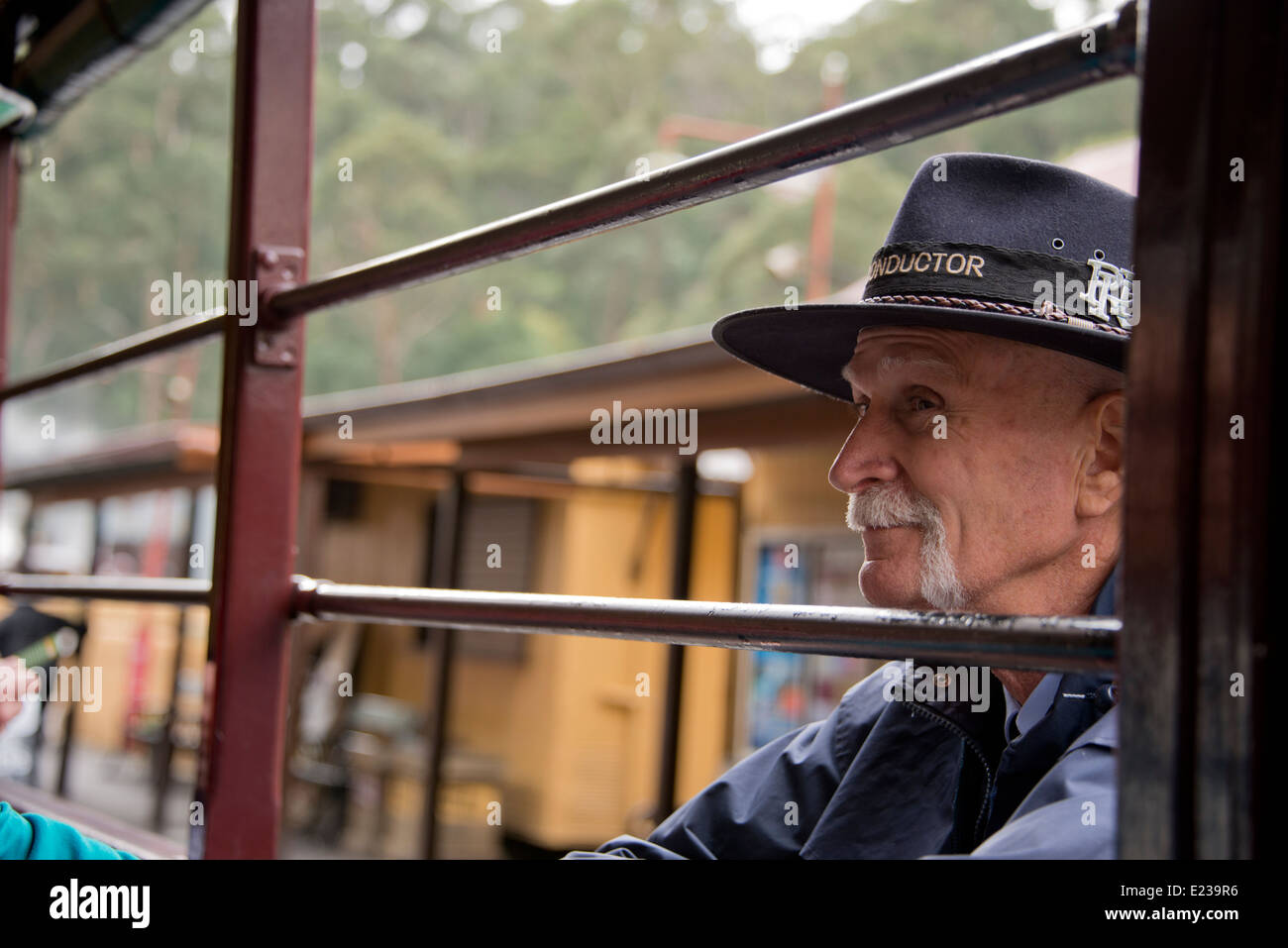 Australia, Victoria, Melbourne, Dandenong Ranges. Puffing Billy, historic vintage steam train, circa early 1900's. - Stock Image