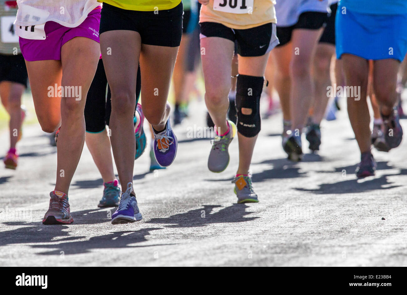 Runners race in 5K & 10K foot races, annual Fibark festival, Salida, Colorado, USA - Stock Image