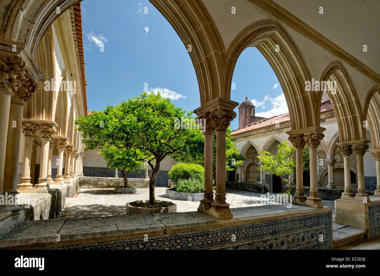 Central Portugal, the Ribatejo, Tomar, cloister in the Convento de Cristo convent - Stock Image