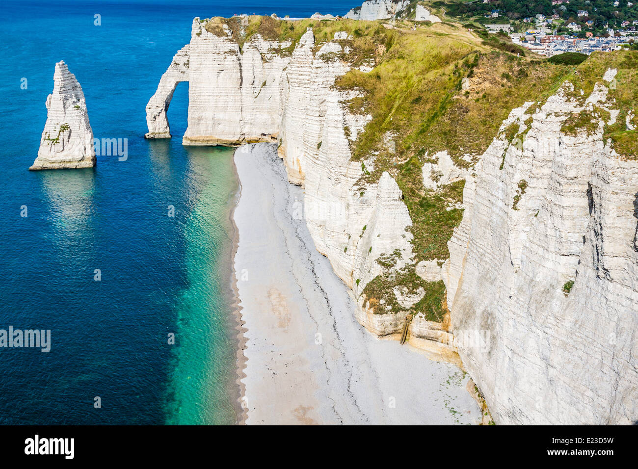 The famous cliffs at Etretat in Normandy, France - Stock Image